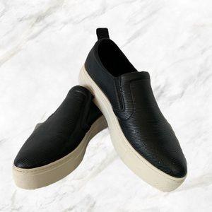 Aldo | Black Leather Platform Flats
